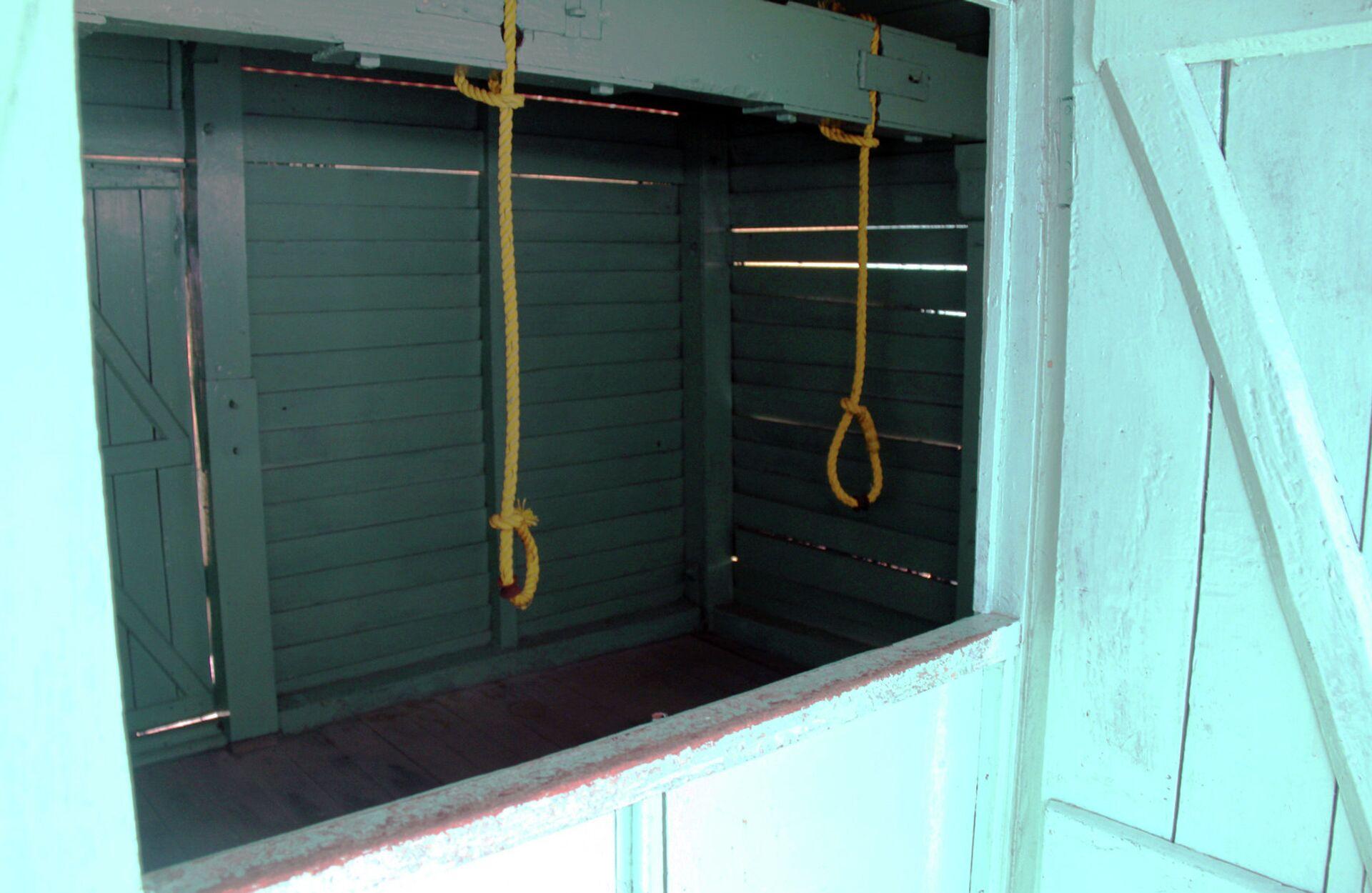 Виселица с системой открывающихся в полу люков в Сотовой Тюрьме в городе Порт-Блэр - РИА Новости, 1920, 02.04.2021