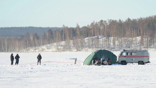 Место падения метеорита на озере Чебаркуль