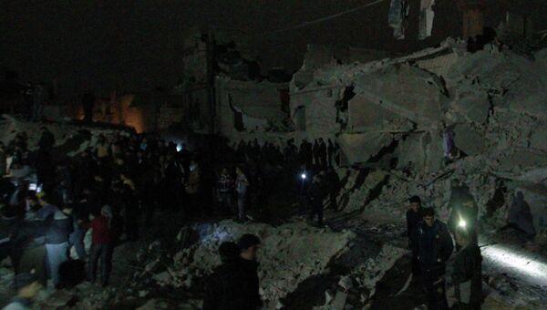 Последствия обстрела Алеппо