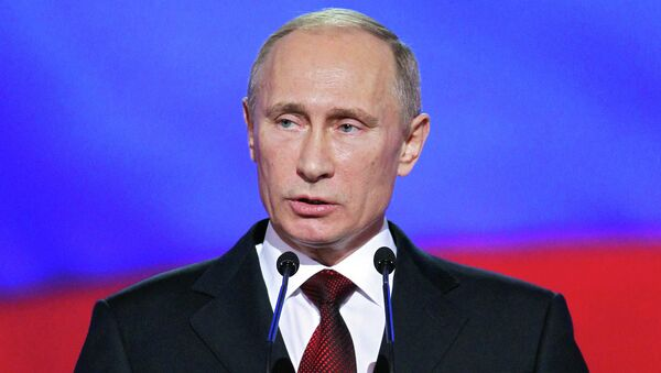 В.Путин на концерте, посвященном Дню защитника Отечества