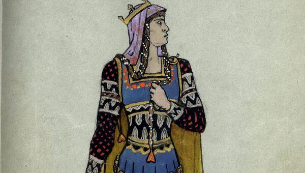 Эскиз костюма леди Макбет. Макбет В. Шекспира. 1890 г. Художник Ф.Л. Соллогуб