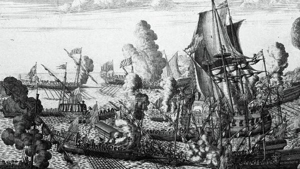 Репродукция гравюры А. Зубова 1715 года Морское сражение около Гангута, 25 июля 1714 года. Московский Исторический музей.