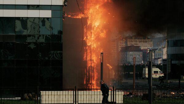 Пожар в комплексе Грозный-Сити в Чечне