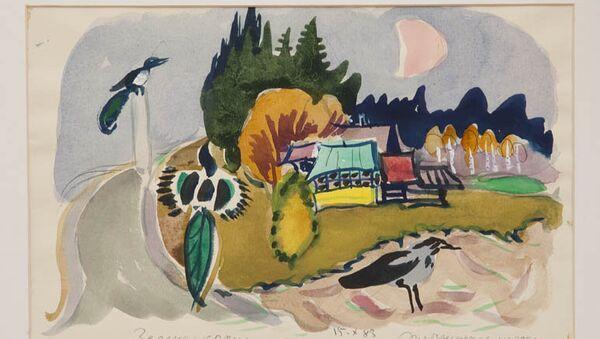 Татьяна Маврина. Зеленая крыша. 1983. (15.10.83). Бумага, гуашь