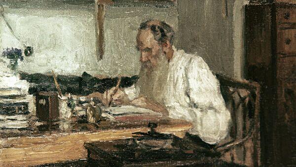 Этюд художника Пастернака Толстой в Яснополянском кабинете