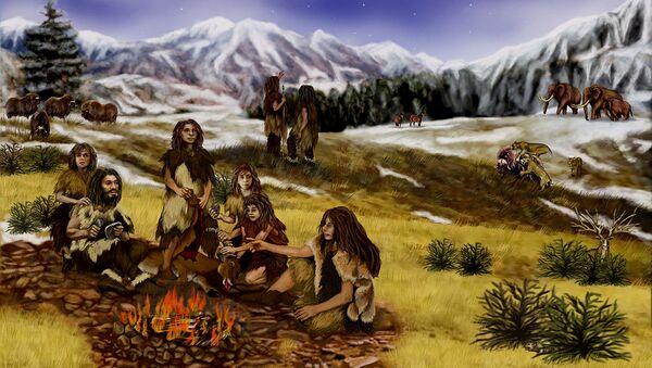 Неандертальцы у костра под открытым небом