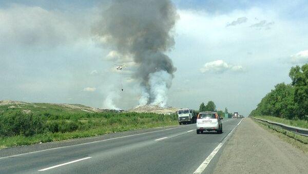 Тушение пожара на свалке под Петербургом