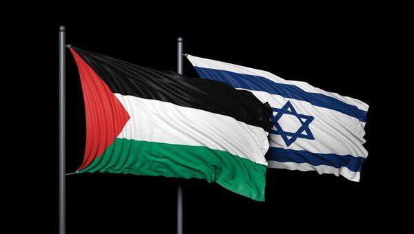Флаги Израиля и Палестины, архивное фото