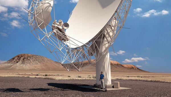 Антенна радиотелескопа проекта MeerKAT в Южной Африке