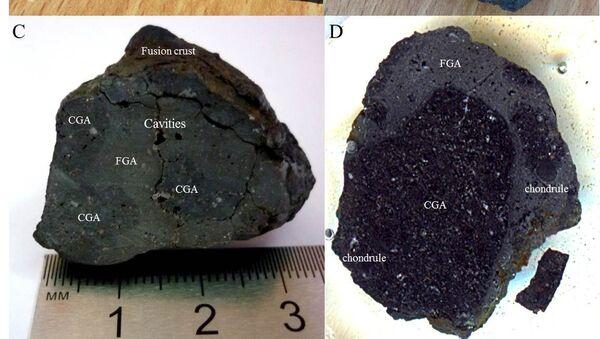 Фрагмент челябинского метеорита, на котором видна кора плавления