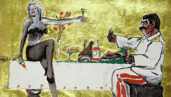 Леонид Соков. Лист №3. 1989–90г. Бумага ручной работы на картоне, сериграфия, рельеф, золотая фольга, подвижной механизм. 78,5х57,5 см