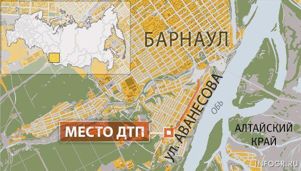 Пересечение улиц Аванесова и Ломоносова в Барнауле