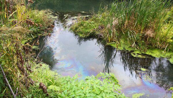 Утечка нефтепродуктов в реку Тула в Новосибирске, событийное фото.