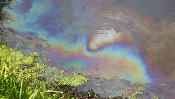 Утечка нефтепродуктов в реку Тула в Новосибирске, фото с места события