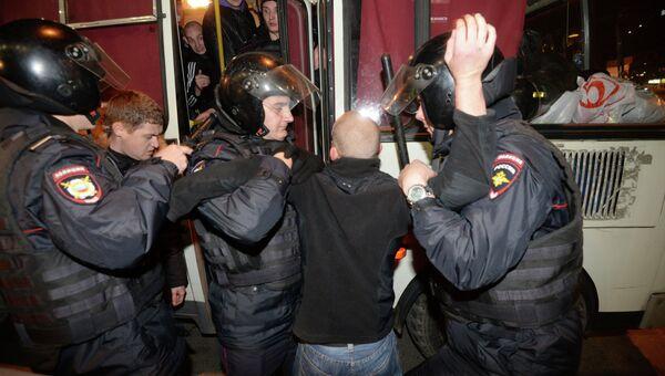 Задержания у станции метро Пражская