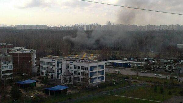 В районе падения вертолета на юго-востоке Москвы