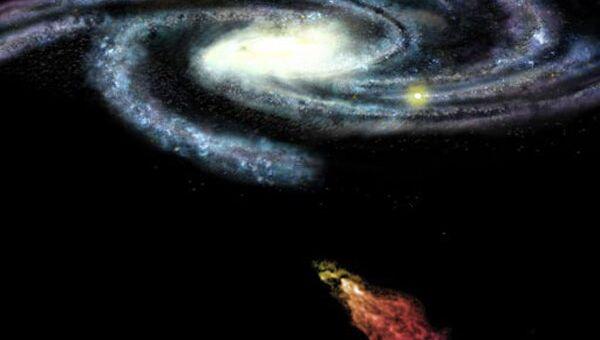 Художественное изображение Облака Смита на пути к диску Млечного пути