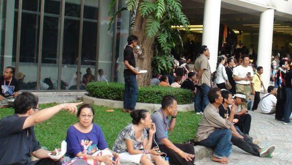 Участники митинга в Бангкоке, фото с места события