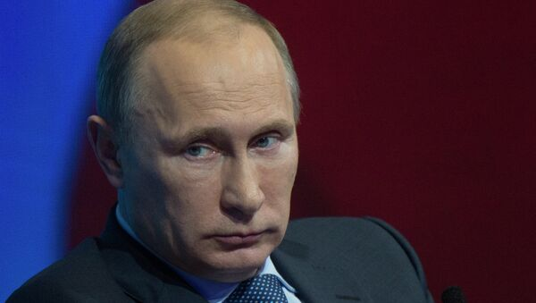 Президент России Владимир Путин во время конференции Общероссийского народного фронта Форум действий в Москве. Фото с места события