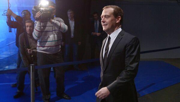Дмитрий Медведев в студии телецентра Останкино