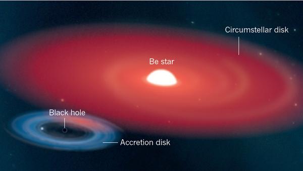 Так художник представил себе небольшую черную дыру в созвездии Единорога и ее спутницу – B(e)-звезду