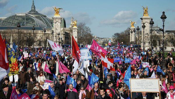 Демонстрация против однополых браков в Париже. Фото с места события