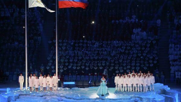 Оперная певица Анна Нетребко выступает на церемонии открытия XXII зимних Олимпийских игр в Сочи.