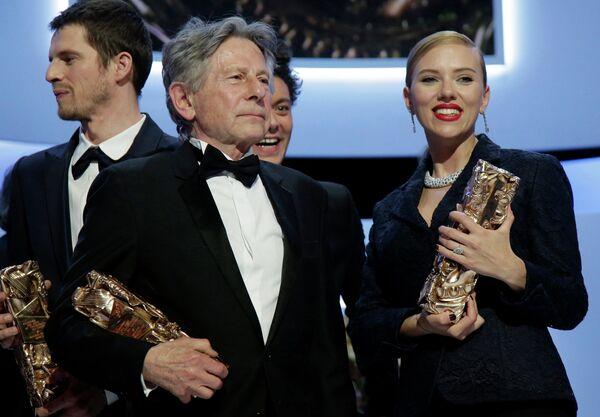 Роман Полански и американская киноактриса Скарлетт Йоханссон на 39-й церемонии вручения наград премии Сезар