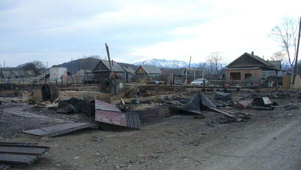 Пострадавшее от пожара село Амгу в Приморском крае. Архивное фото