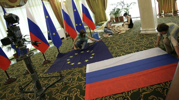 Подготовка Международного пресс-центра к Саммиту Россия-ЕС. Архивное фото