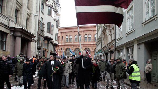 Шествие ветеранов латышского легиона Waffen-SS и их сторонников в Риге, архивное фото
