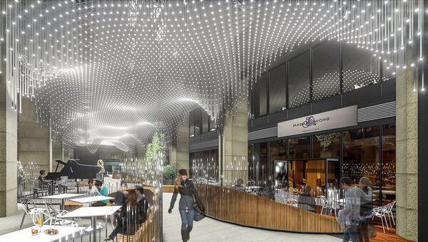 Проект организации пространства аркады московского бизнес-центра Белые сады