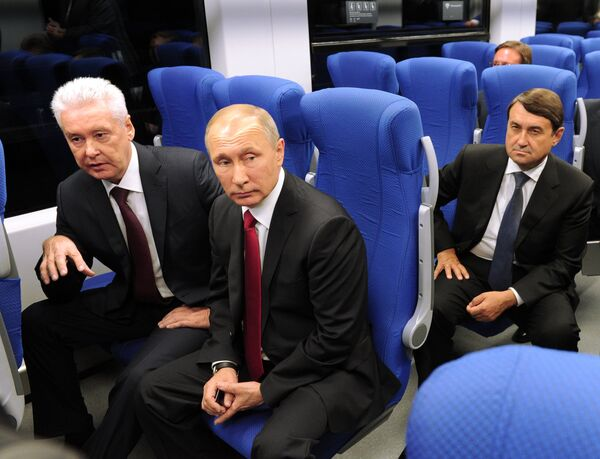 Президент РФ Владимир Путин принял участие в церемонии ввода в эксплуатацию транспортного МЦК в День города Москвы