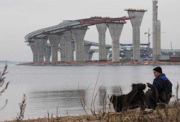Строительство двухъярусного моста через Морской канал в Санкт-Петербурге