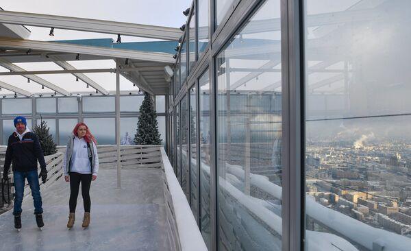 Открытие самого высокого катка в Европе на крыше башни Око ММДЦ Москва-Сити