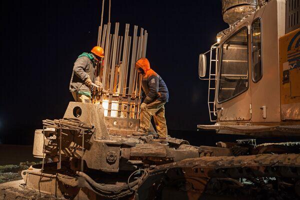 Строительство участка Керченского моста