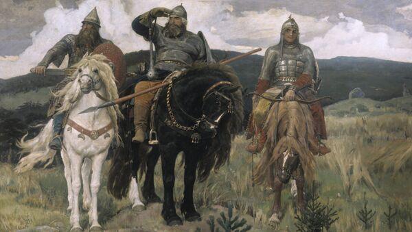 Репродукция картины В. М. Васнецова Три богатыря.