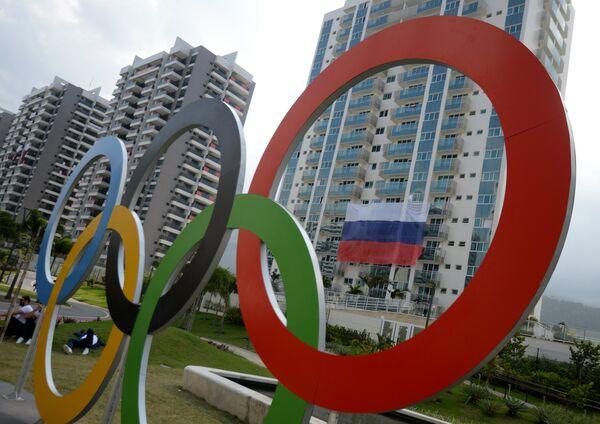 b3806df1 Флаг сборной России на одном из зданий в Олимпийской деревне в  Рио-де-Жанейро