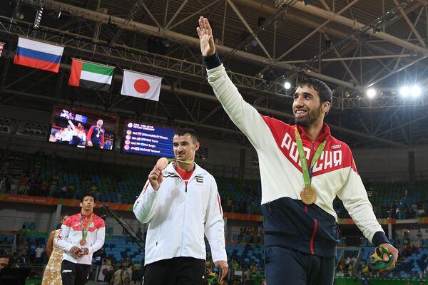 Хасан Халмурзаев - золотая медаль, Серджио Тому и Таканори Нагасэ - бронзовые медали (слева направо)