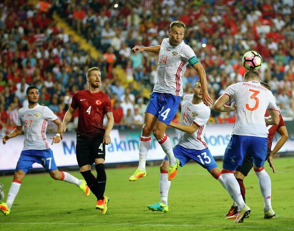 Игровой момент матча Турция - Россия