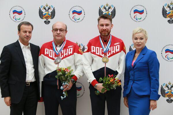 Аркадий Дворкович, Валерий Пономаренко, Сергей Малышев, Рима Баталова (слева направо)