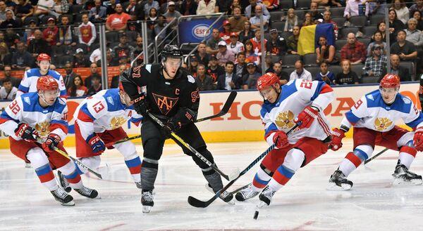 Игровой момент матча Кубка мира Россия - Северная Америка U23