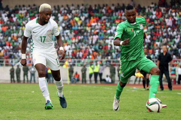 Игровой момент матча Замбия - Нигерия