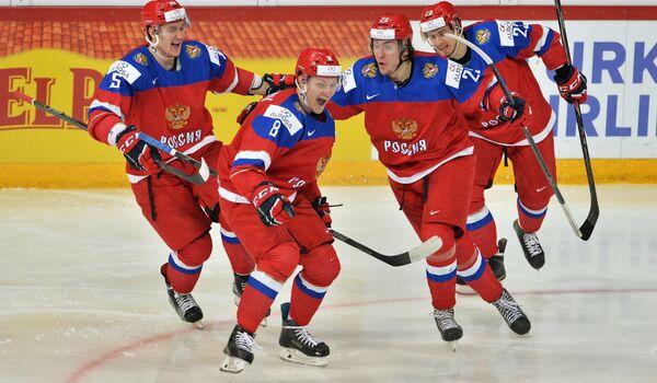 Хоккеисты молодежной сборной России по хоккею