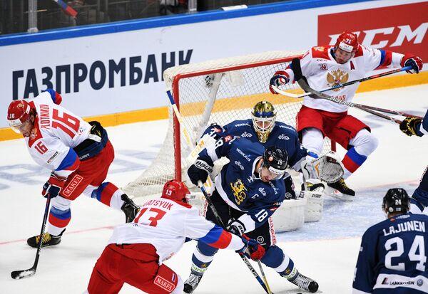 Игровой момент матча Кубка Первого канала Россия – Финляндия