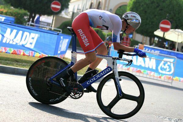 Российский велогонщик проконтинентальной команды Газпром-Русвело Артем Ныч