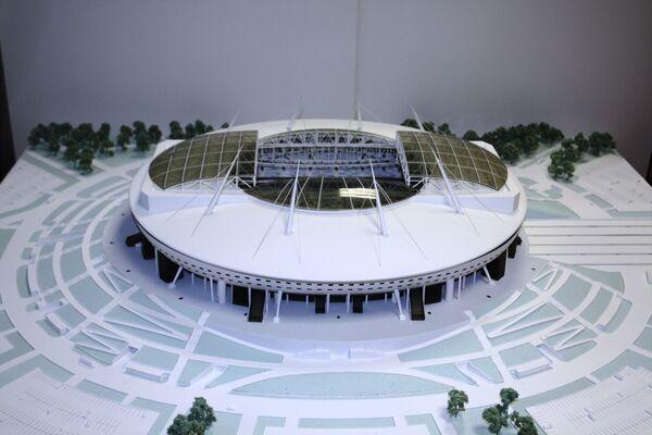 Макет стадиона на Крестовском острове в Санкт-Петербурге