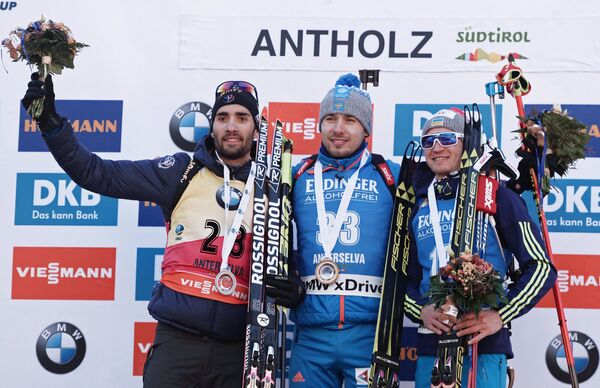 Мартен Фуркад, Антон Шипулин и Сергей Семенов (слева направо)