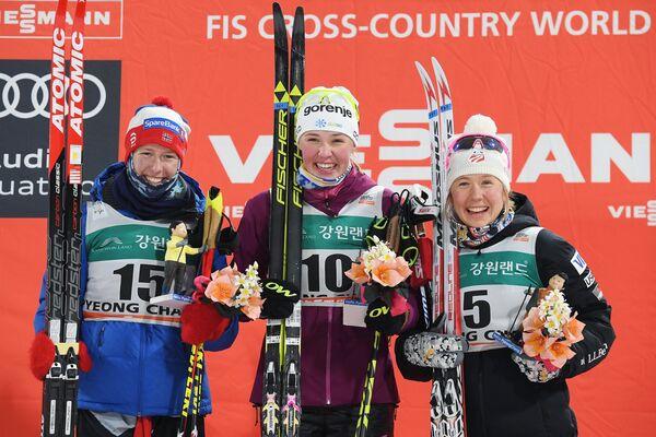 Силье Ойре Слинд - 2-е место, Анамария Лампич - 1-е место, Ида Сарджент - 3-е место (слева направо).