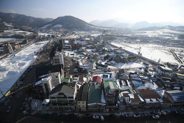 Вид на один из районов в Пхенчхане